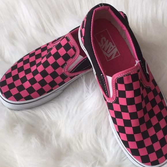 Classic Pink   Black Checkerboard Vans Slip Ons b3c266154